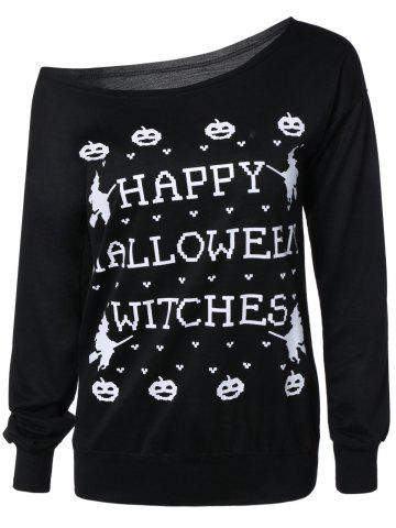 Outfit Letter Halloween Sweatshirt BLACK 3XL