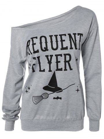 Outfits Letter Skew Neck Sweatshirt GRAY M