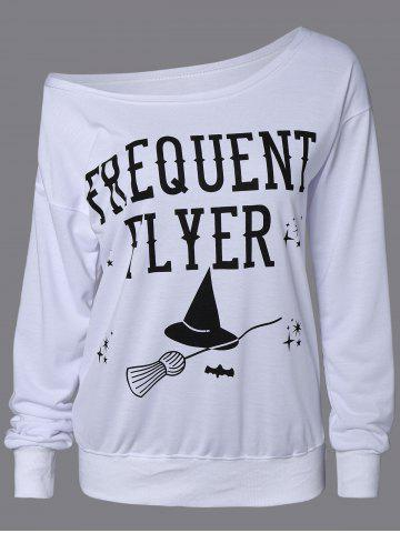 Outfits Letter Skew Neck Sweatshirt