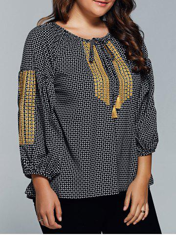Latest Plus Size Plaid Tie Blouse