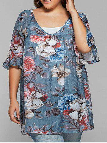 Store Petal Sleeve Print Twinser Blouse