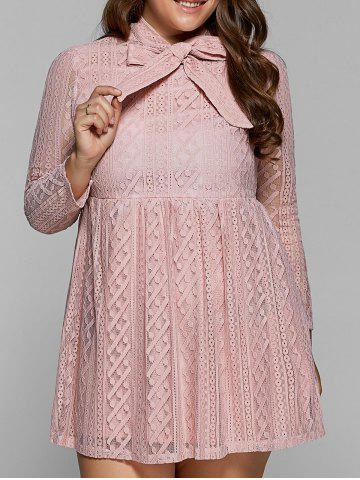 Buy Plus Size Bow Neck Sheer Lace Dress