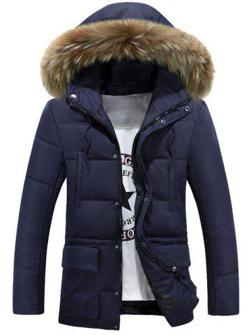Trendy Multi-Pocket Quilted Coat with Fur Hood