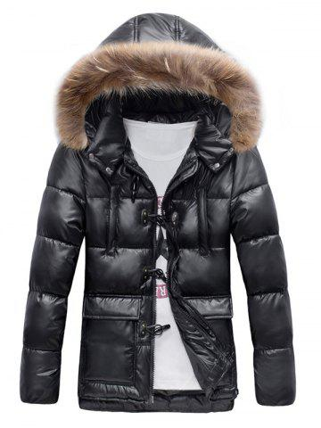 Cheap Quilted Duffle Coat with Fur Hood