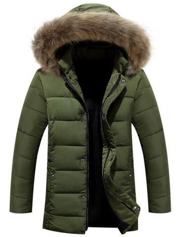 Hot Zipper Button Quilted Coat with Fur Hood