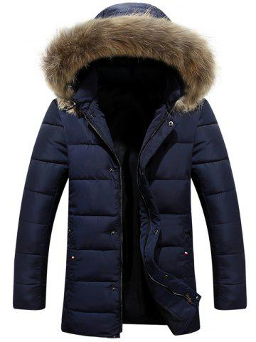 Zipper Button Quilted Coat with Fur Hood - Deep Blue - 2xl