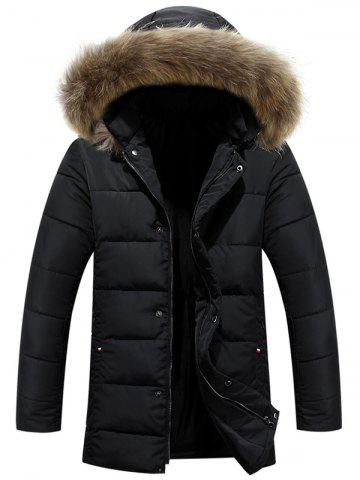 Zipper Button Quilted Coat with Fur Hood - BLACK 2XL