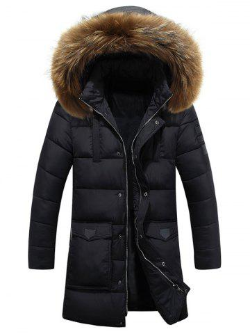 Applique Quilted Coat with Fur Hood - Black - L