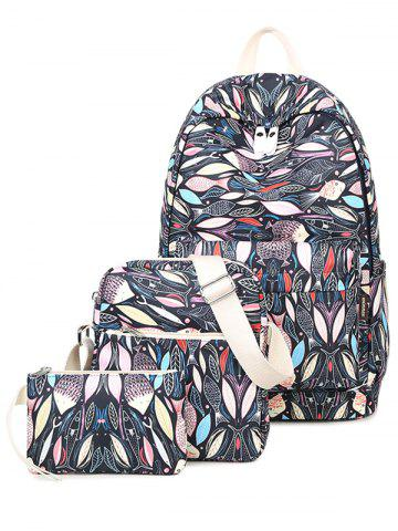 Outfit Color Block Fish Print Zippers Backpack
