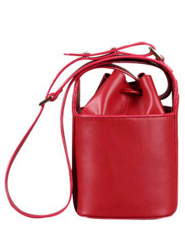 Unique Metal Drawstring PU Leather Crossbody Bag RED
