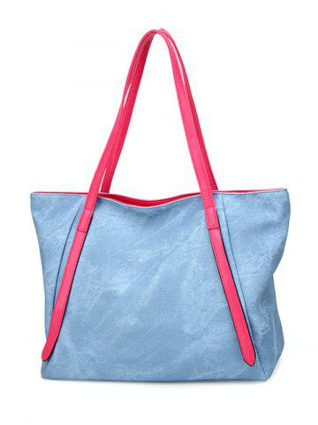 Outfit Contrast Handle PU Leather Shopper Bag LIGHT BLUE