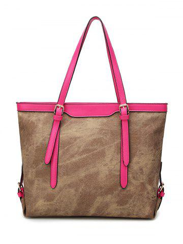 Hot Buckle Straps PU Leather Shopper Bag