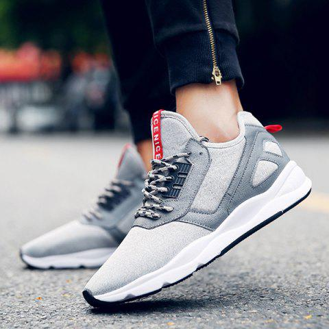 Fancy Color Block PU Leather Insert Athletic Shoes - 41 LIGHT GRAY Mobile