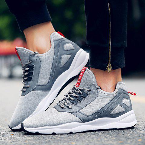 Affordable Color Block PU Leather Insert Athletic Shoes - 41 LIGHT GRAY Mobile