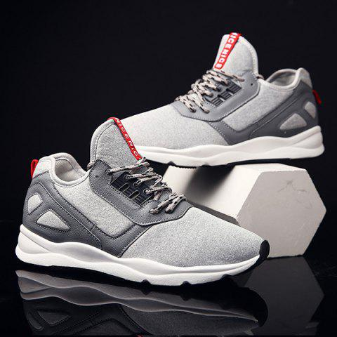 Trendy Color Block PU Leather Insert Athletic Shoes - 41 LIGHT GRAY Mobile