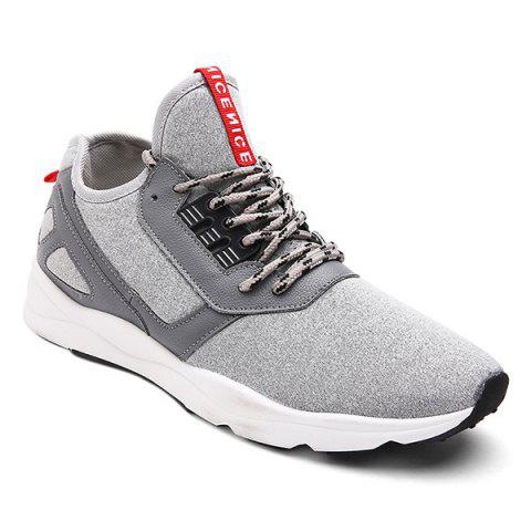 Fancy Color Block PU Leather Insert Athletic Shoes - 40 LIGHT GRAY Mobile