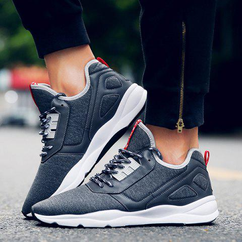 Outfit Color Block PU Leather Insert Athletic Shoes - 42 DEEP GRAY Mobile