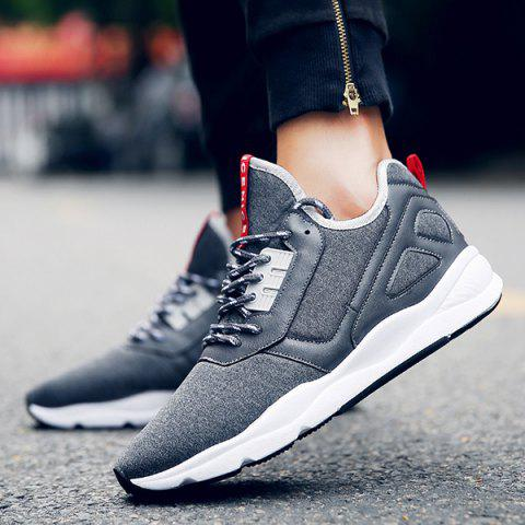 Chic Color Block PU Leather Insert Athletic Shoes - 42 DEEP GRAY Mobile