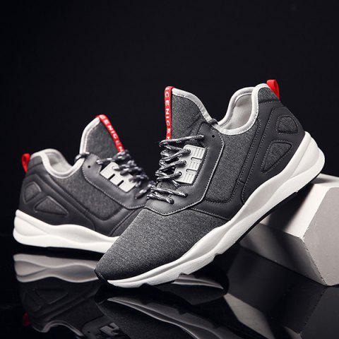 Latest Color Block PU Leather Insert Athletic Shoes - 42 DEEP GRAY Mobile