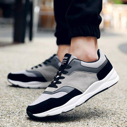 Store Suede Color Block Tie Up Athletic Shoes - 41 BLACK Mobile