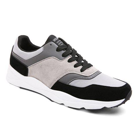 Affordable Suede Color Block Tie Up Athletic Shoes BLACK 41
