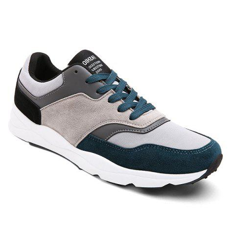Outfit Suede Color Block Tie Up Athletic Shoes - 44 BLUE Mobile