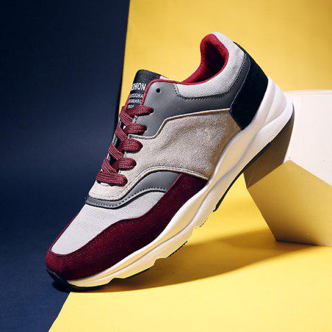 Shop Suede Color Block Tie Up Athletic Shoes - 42 WINE RED Mobile