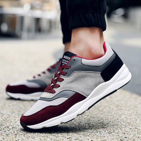 Latest Suede Color Block Tie Up Athletic Shoes - 42 WINE RED Mobile