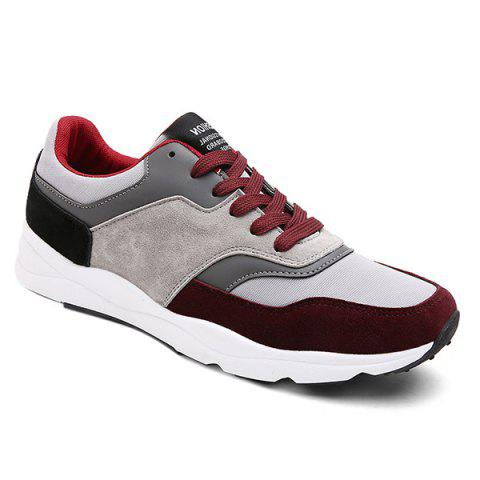 Suede Color Block Tie Up Athletic Shoes - Wine Red - 42