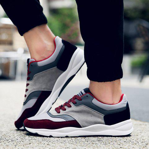 Chic Suede Color Block Tie Up Athletic Shoes - 42 WINE RED Mobile