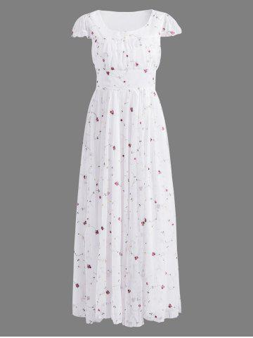 Outfits Floral Embroidered Gauze Maxi Wedding Guest Dress WHITE XL