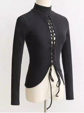 High Neck Reversible Lace Up Knitwear - Black - S