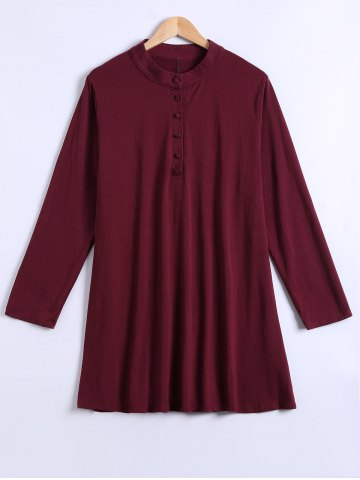 Discount Long Sleeves Buttoned  Flare Dress WINE RED 5XL