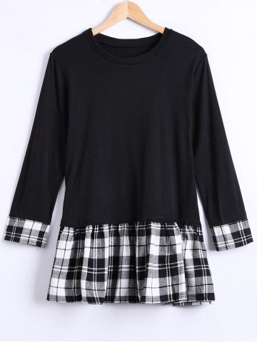 Fashion Long Sleeves Checkered Patchwork Dress