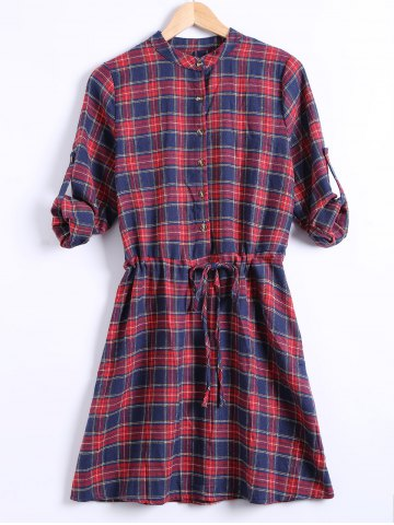 Discount Checkered Drawstring Plus Size Shirt Dress