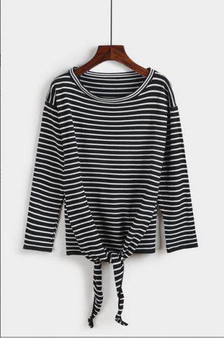 Latest Striped Print Knotted T-Shirt