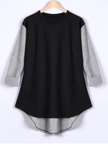 Online Long Sleeves High Low Patchwork T-Shirt