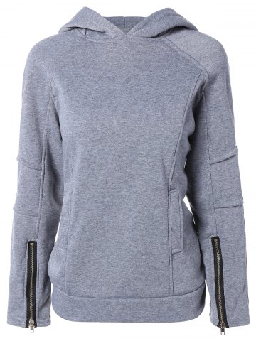 Trendy Solid Color Zip Embellished Patchwork Pullover Hoodie GRAY 2XL