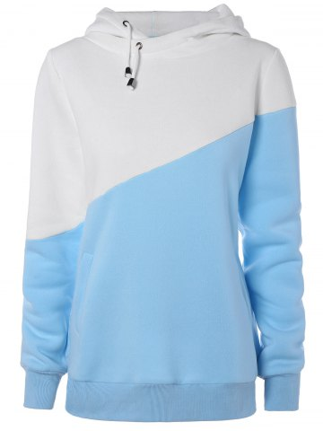 Buy Hit Color String Pullover Hoodie BLUE/WHITE 2XL