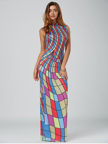 Chic High Neck Floor Length Bodycon Maxi Dress - S COLORMIX Mobile