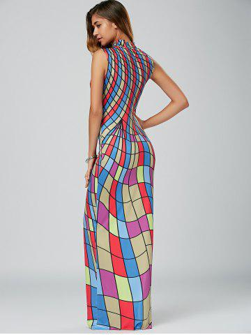 New High Neck Floor Length Bodycon Maxi Dress - S COLORMIX Mobile