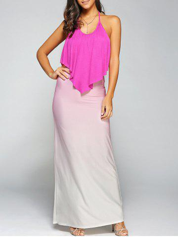 Chic Halterneck Gradient Color Maxi Dress