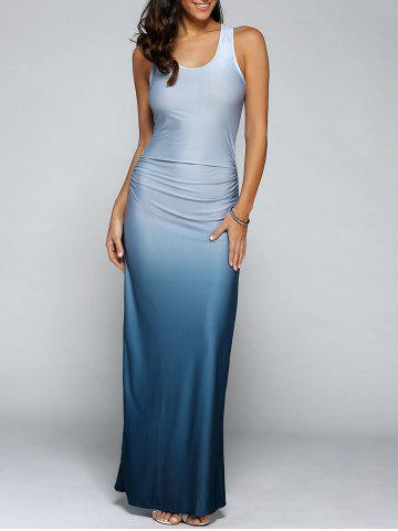 Unique Gradient Color Maxi Dress LIGHT BLUE XL
