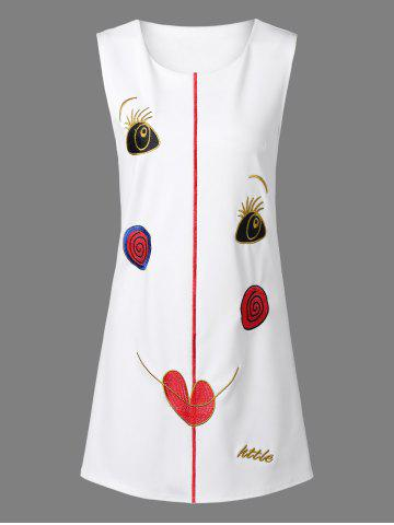Shop Retro Funny Face Embroidered Dress