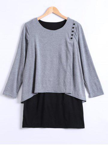 Chic Long Sleeves Asymmetric Faux Twinset T-Shirt