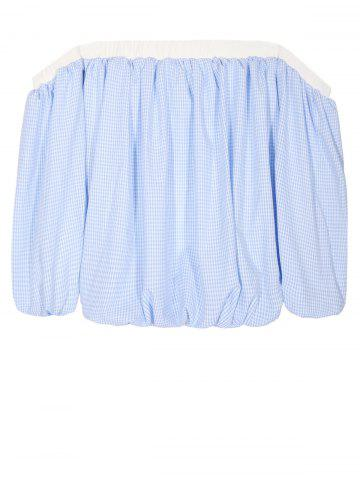Off The Shoulder Puff Sleeve Checked Top