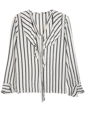 Online V Neck Tied Flounced Striped Blouse