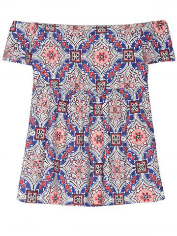 Affordable Off The Shoulder Retro Print T-Shirt