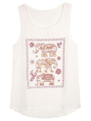 Online Elephant Print Sleeveless T-Shirt
