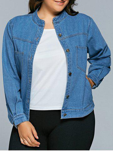 Buy Plus Size BF Style Denim Jacket - 3XL DENIM BLUE Mobile